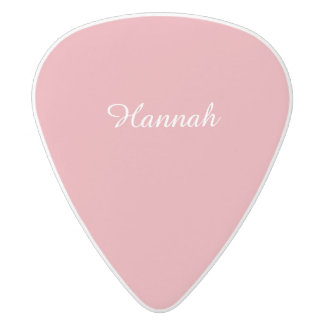 Light Strawberry Pink Customizable White Delrin Guitar Pick