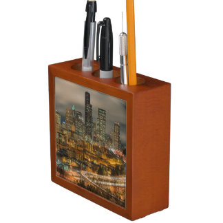 Light streaks from cars at night desk organiser