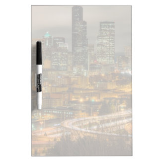 Light streaks from cars at night dry erase board
