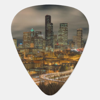 Light streaks from cars at night guitar pick