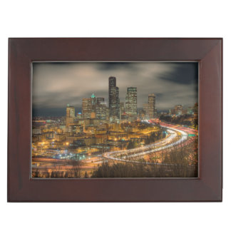 Light streaks from cars at night keepsake box