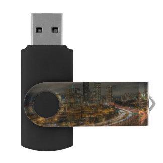 Light streaks from cars at night USB flash drive