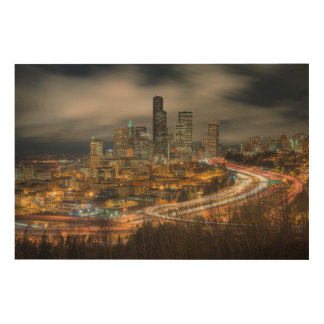 Light streaks from cars at night wood wall art