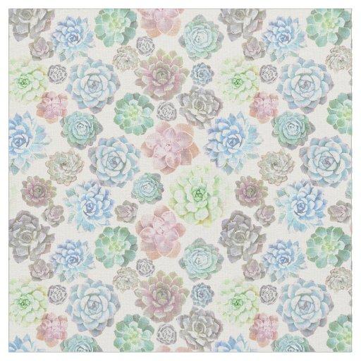 Light succulents design fabric