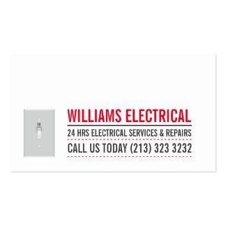 Light Switch Black and White Electrician Pack Of Standard Business Cards
