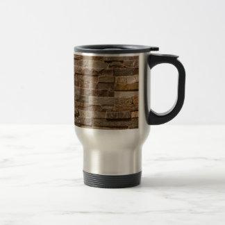 Light tan / brown bricks pattern travel mug