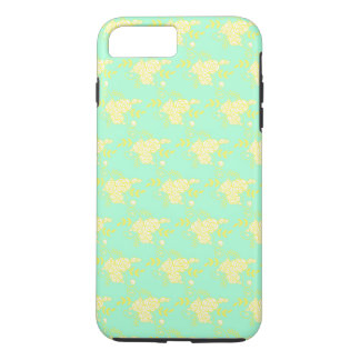 Light Teal and Gold Ditsy Floral Pattern iPhone 8 Plus/7 Plus Case