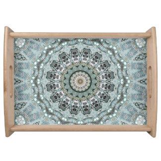 Light Teal and Gray Mandala Art Serving Tray