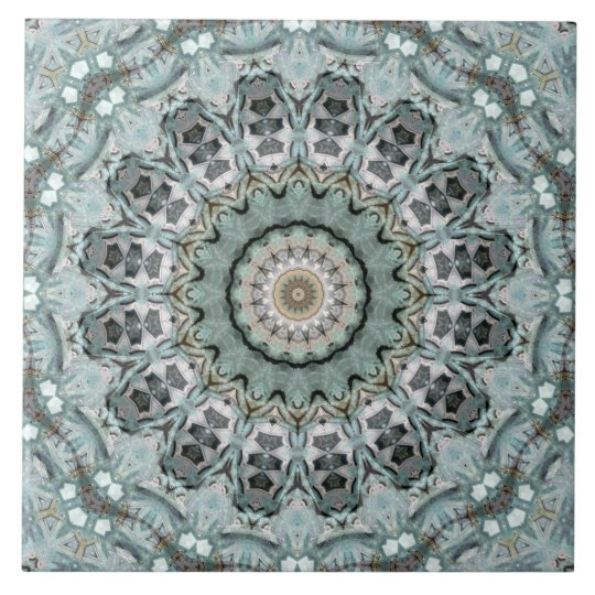 Light Teal and Grey Mandala Kaleidoscope Tile