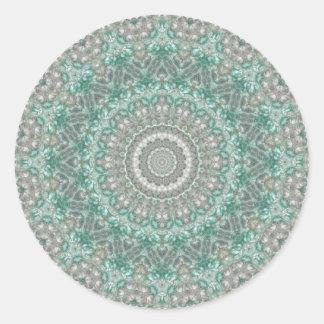 Light Teal and Grey Seasons: Winter Mandala Round Sticker