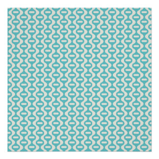 Light Teal, Aqua Wavy Retro Pattern Poster