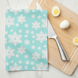 Light Teal Blue Snowflake Pattern Tea Towel