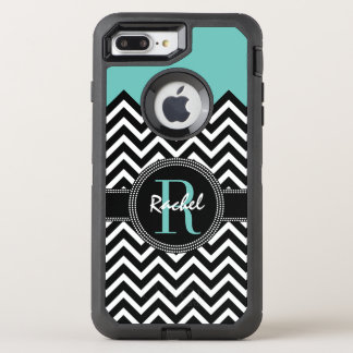 Light Teal Chevron Chic Monogrammmed OtterBox Defender iPhone 7 Plus Case