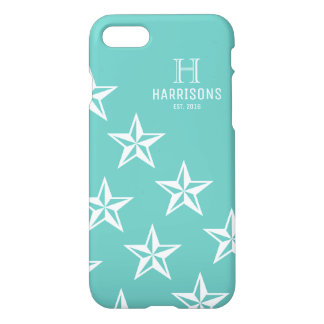 Light Teal Cute Stars Personalized Family Name iPhone 7 Case