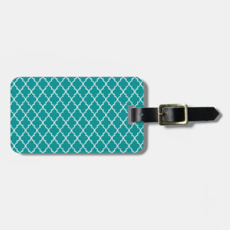 Light Teal Green & White Moroccan Trellis Pattern Luggage Tag