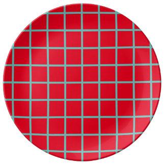 Light Teal Lattice Stripes on Bright Red Plate