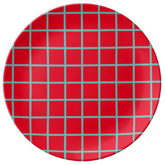Light Teal Lattice Stripes on Bright Red Porcelain Plate