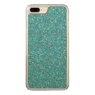 Light Teal Peacock Blue Glitter Effect Carved iPhone 8 Plus/7 Plus Case
