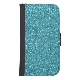 Light Teal Peacock Blue Glitter Effect Samsung S4 Wallet Case
