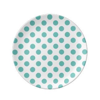 Light Teal Polka Dot Porcelain Plate