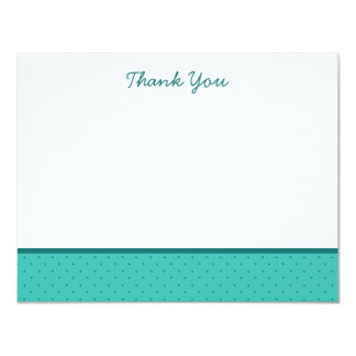 "Light Teal Polka Dot Thank You Note Cards 4.25"" X 5.5"" Invitation Card"