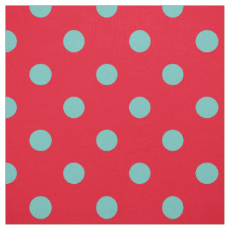 Light Teal Polka Dots on Bright Red Fabric