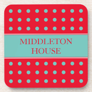 Light Teal Polka Dots on Bright Red Personalized Coaster