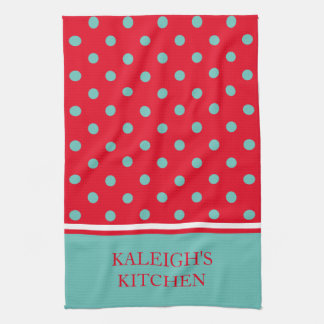 Light Teal Polka Dots on Bright Red Personalized Tea Towel