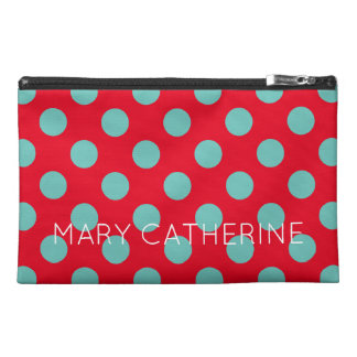 Light Teal Polka Dots on Bright Red Personalized Travel Accessories Bags