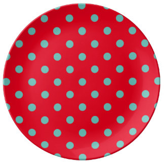 Light Teal Polka Dots on Bright Red Plate