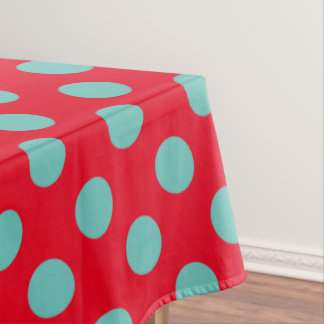 Light Teal Polka Dots on Bright Red Tablecloth