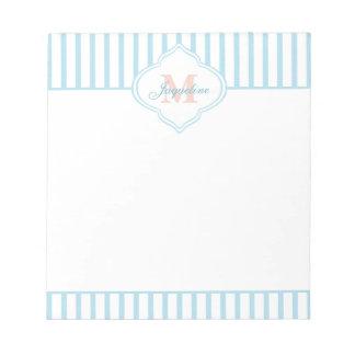 Light Teal Stripe Monogram Notepad