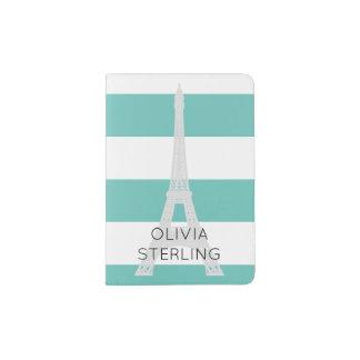 Light Teal Stripes Eiffel Tower | Custom Name Passport Holder