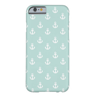 Light Teal White Ships Anchors Pattern Barely There iPhone 6 Case