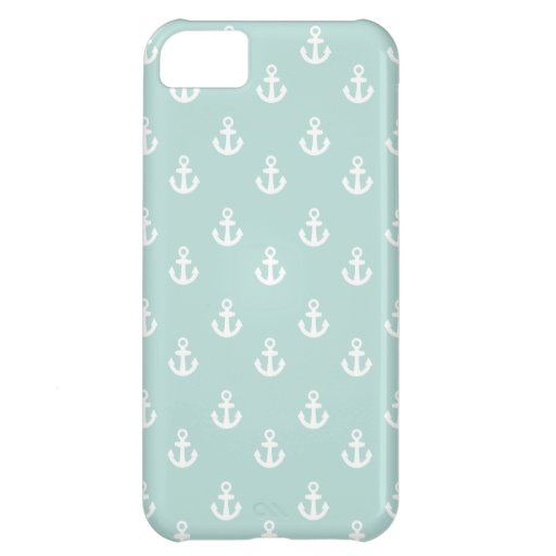 Light Teal White Ships Anchors Pattern iPhone 5C Cases