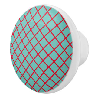 Light Teal With Bright Red Checks Ceramic Knob