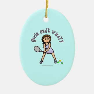 Light Tennis Player Girl Christmas Ornament