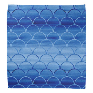Light to Dark Blue Watercolor Scale Pattern Head Kerchief