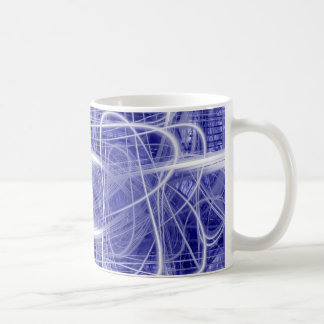 Light trails on a blue background coffee mug