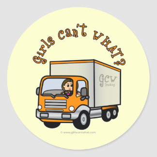 Light Trucker Girl Classic Round Sticker