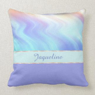 Light Turquise Swirls and Lavender Cushion