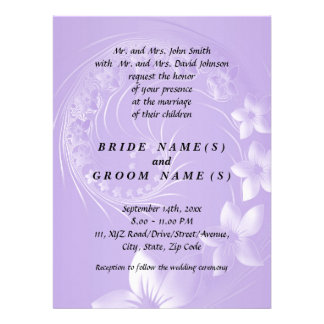 Light Violet Abstract Flowers Invites