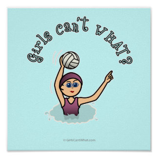 Light Water Polo Player Girl Poster