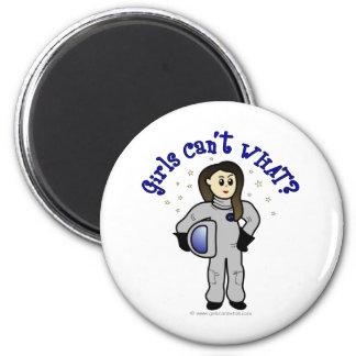Light Woman Astronaut 6 Cm Round Magnet