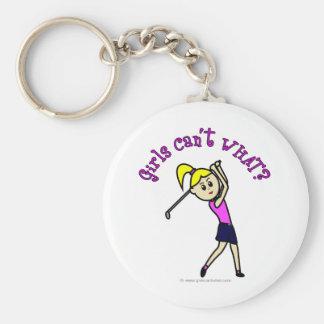 Light Woman Golfer Basic Round Button Key Ring