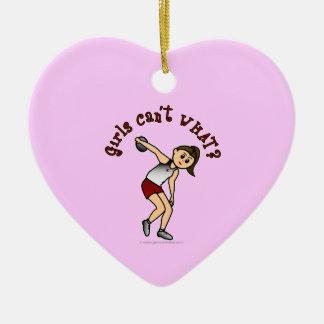 Light Womens Discus Ceramic Heart Decoration