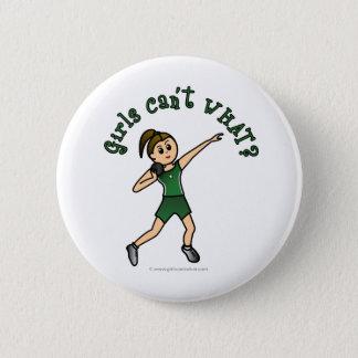 Light Womens Shot Put in Green Uniform 6 Cm Round Badge
