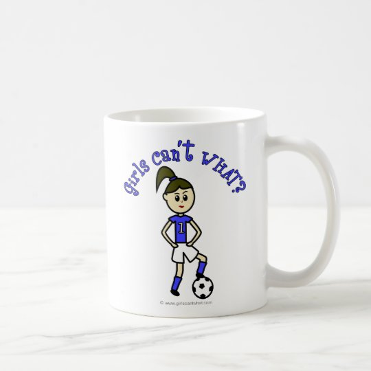 Light Womens Soccer in Blue Uniform Coffee Mug