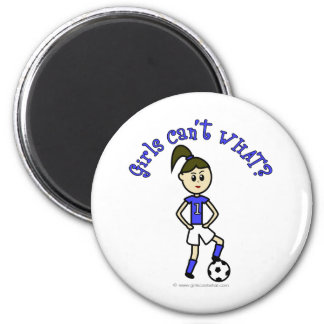 Light Womens Soccer in Blue Uniform Magnet