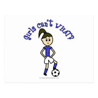 Light Womens Soccer in Blue Uniform Postcard